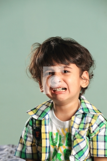 Crying Indian Boy Kid Child Toddler Stock Photo People